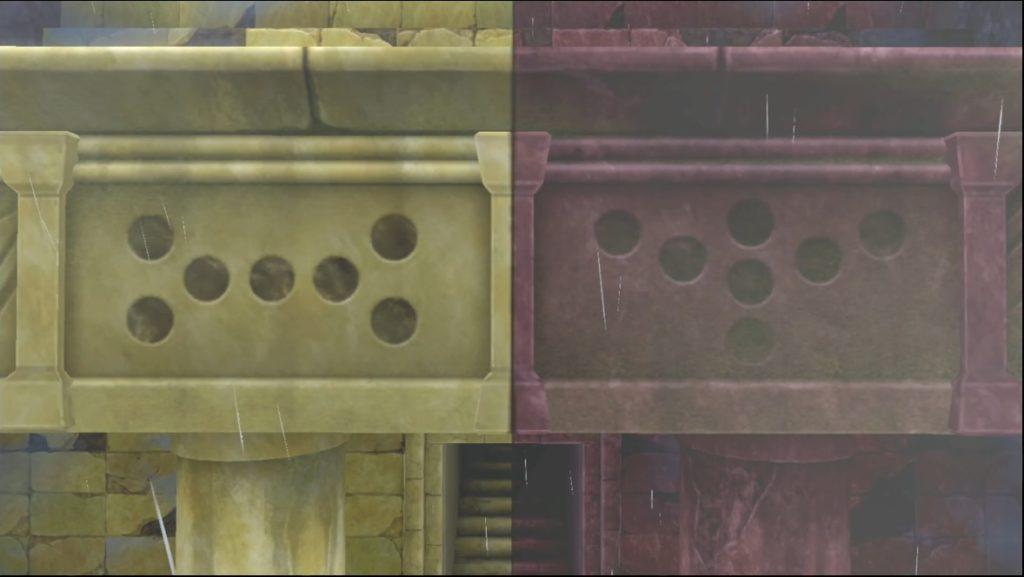 遺跡の入り口に描かれた2つのマーク